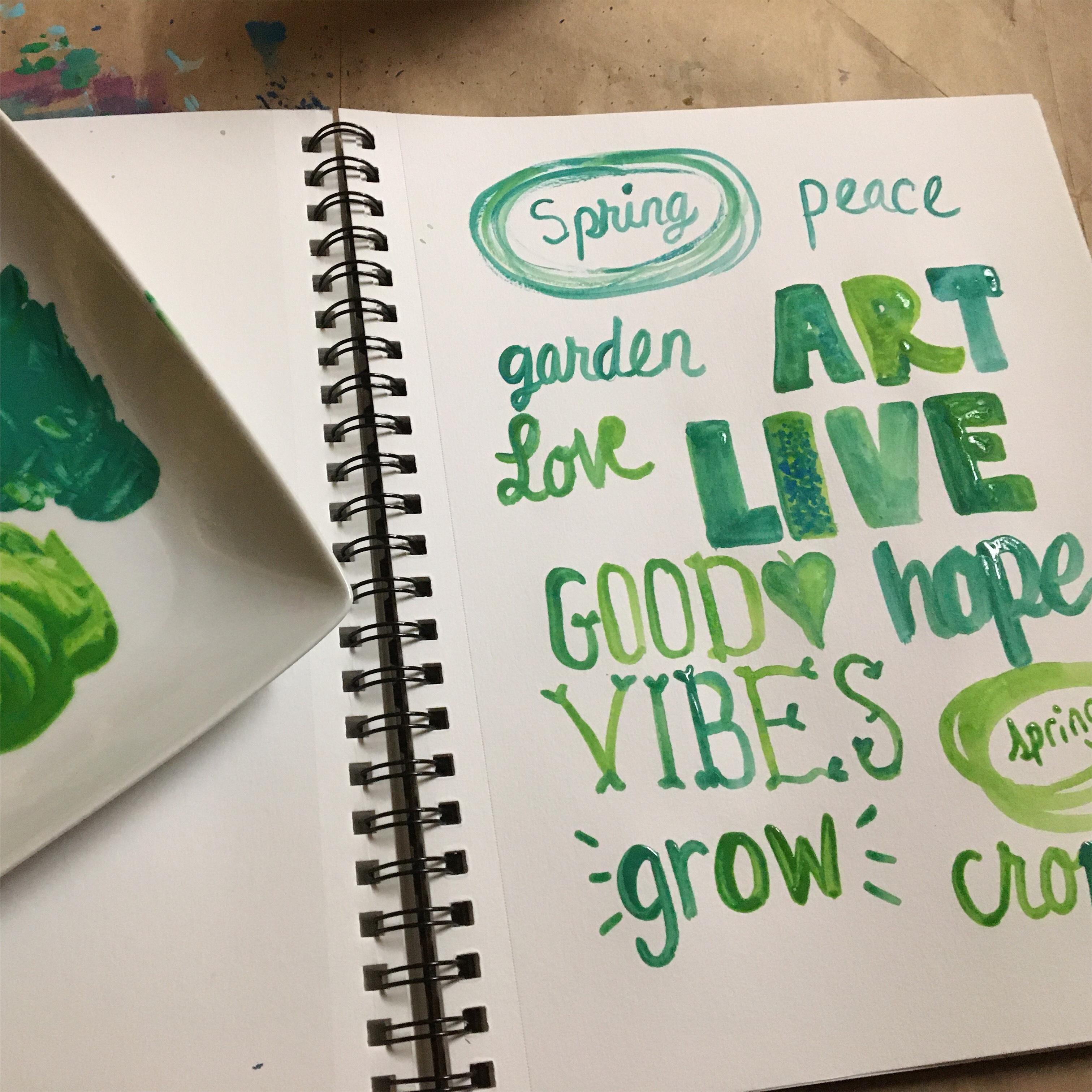 green hand lettering for spring