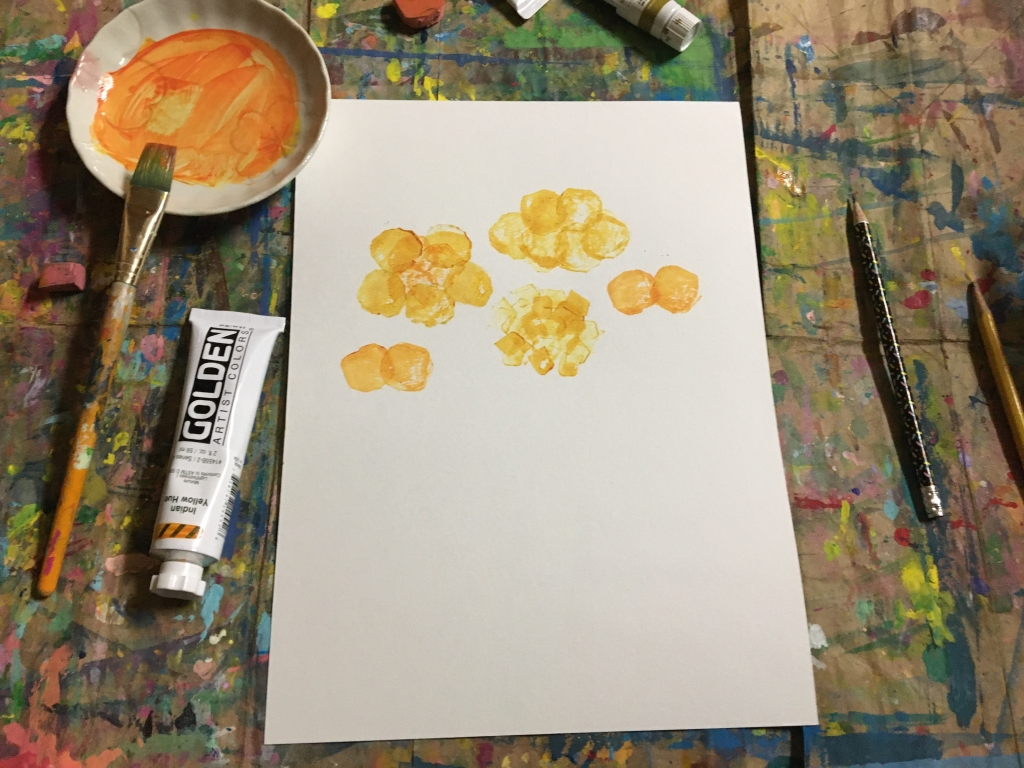 Stamping flowers with Indian Yellow