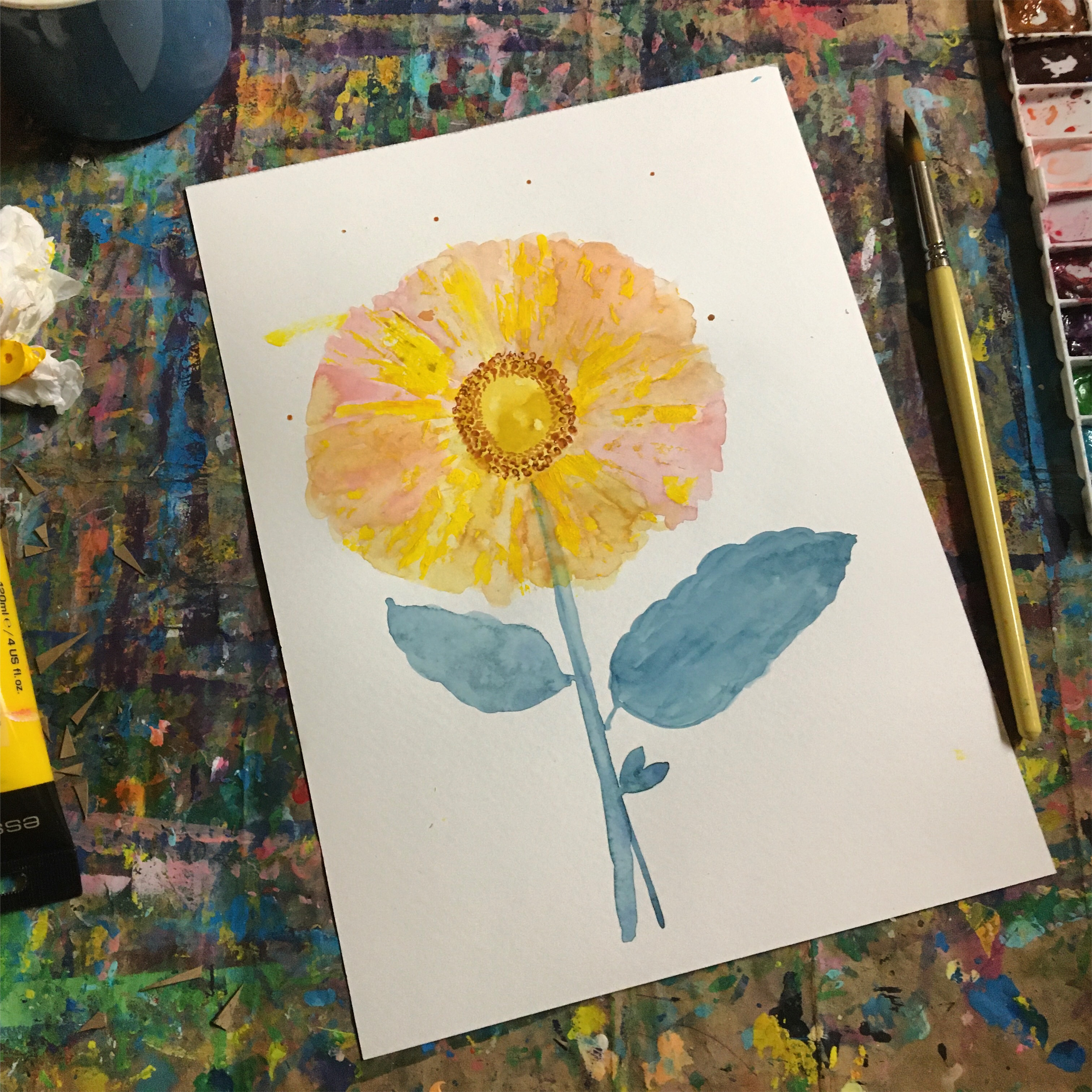 learning to paint flowers with fun tools