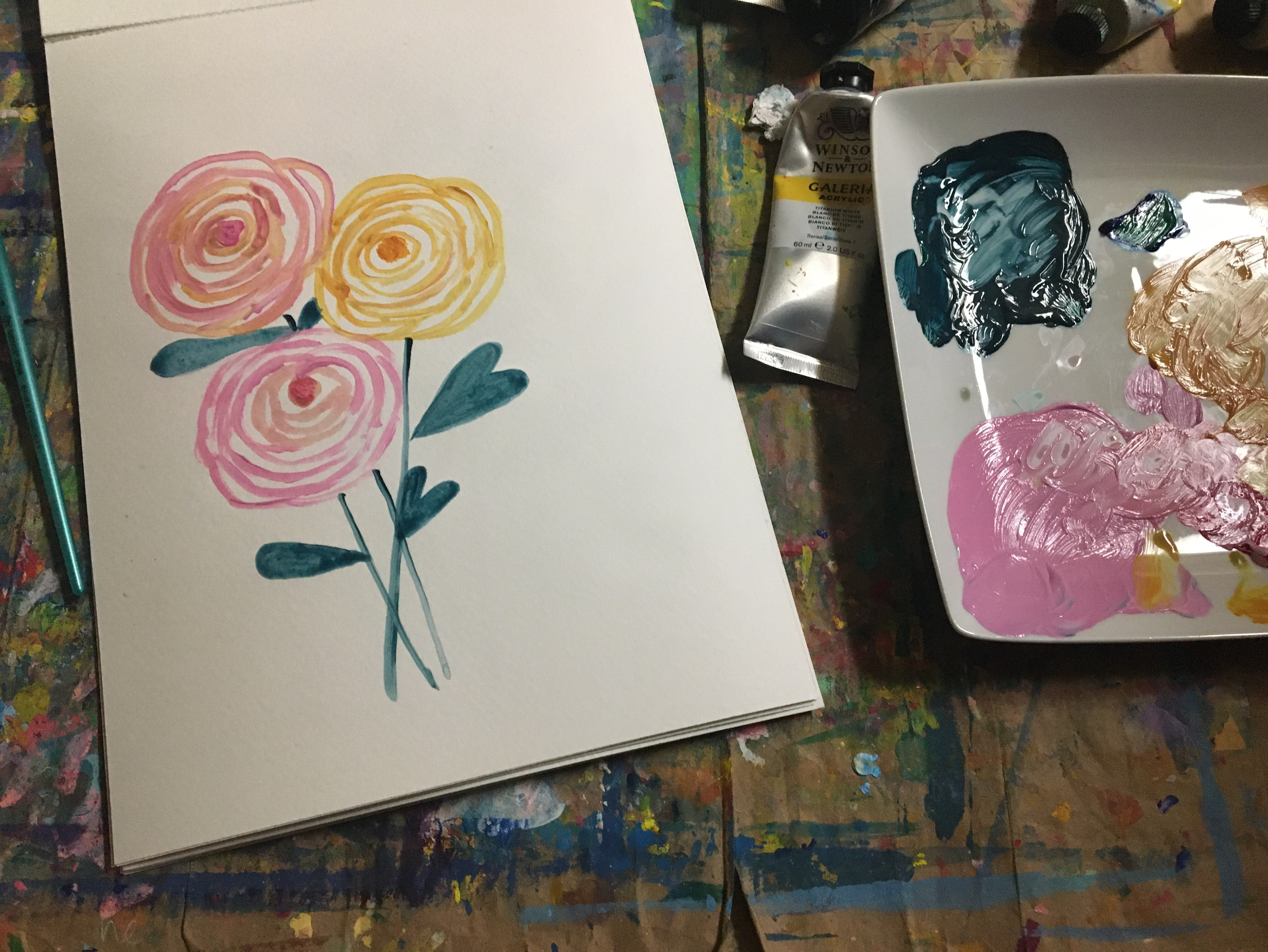 paint easy flowers with spirals lines
