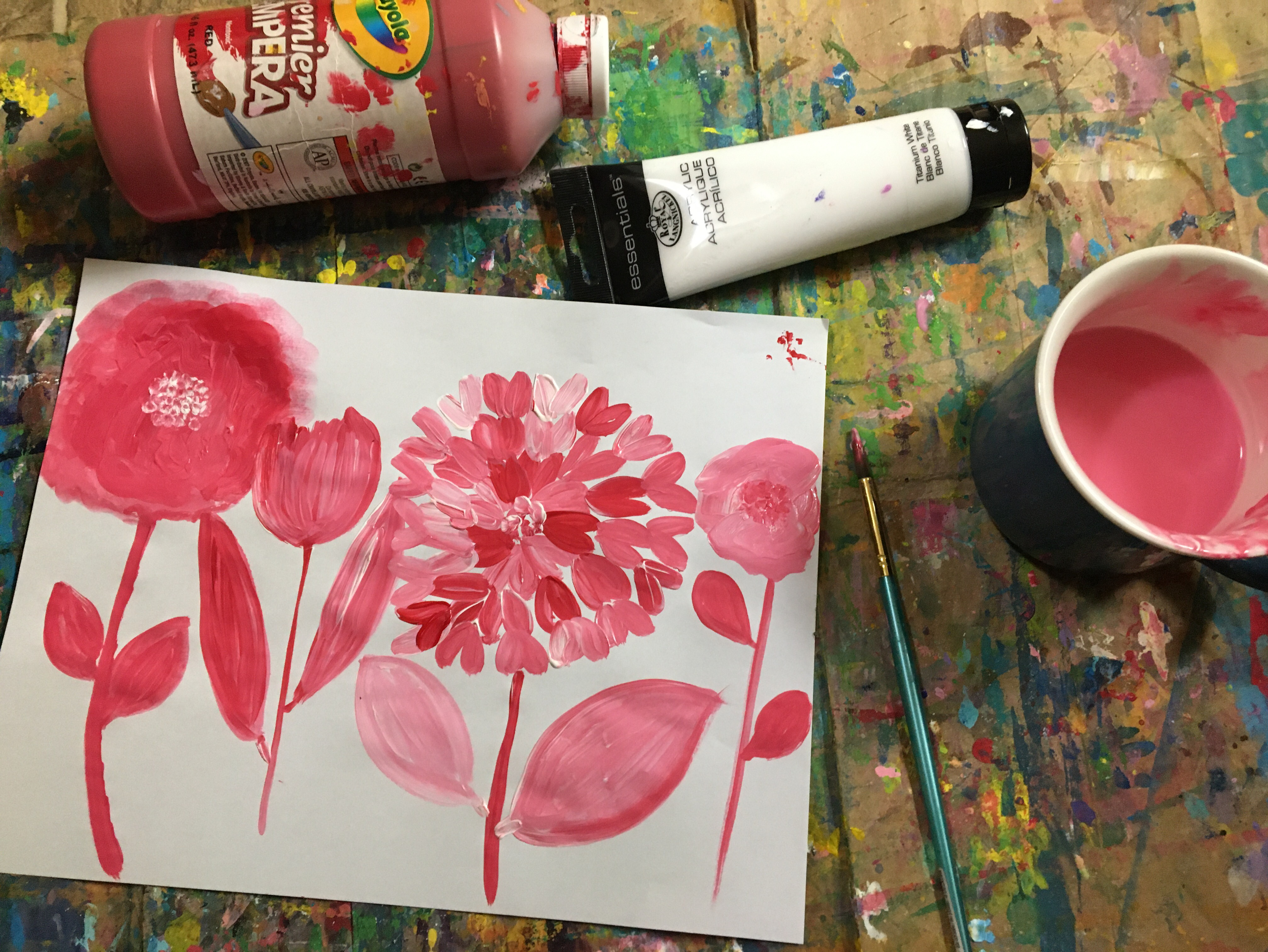 Easy sketchbook painting with copy paper and temepra paint for ideas