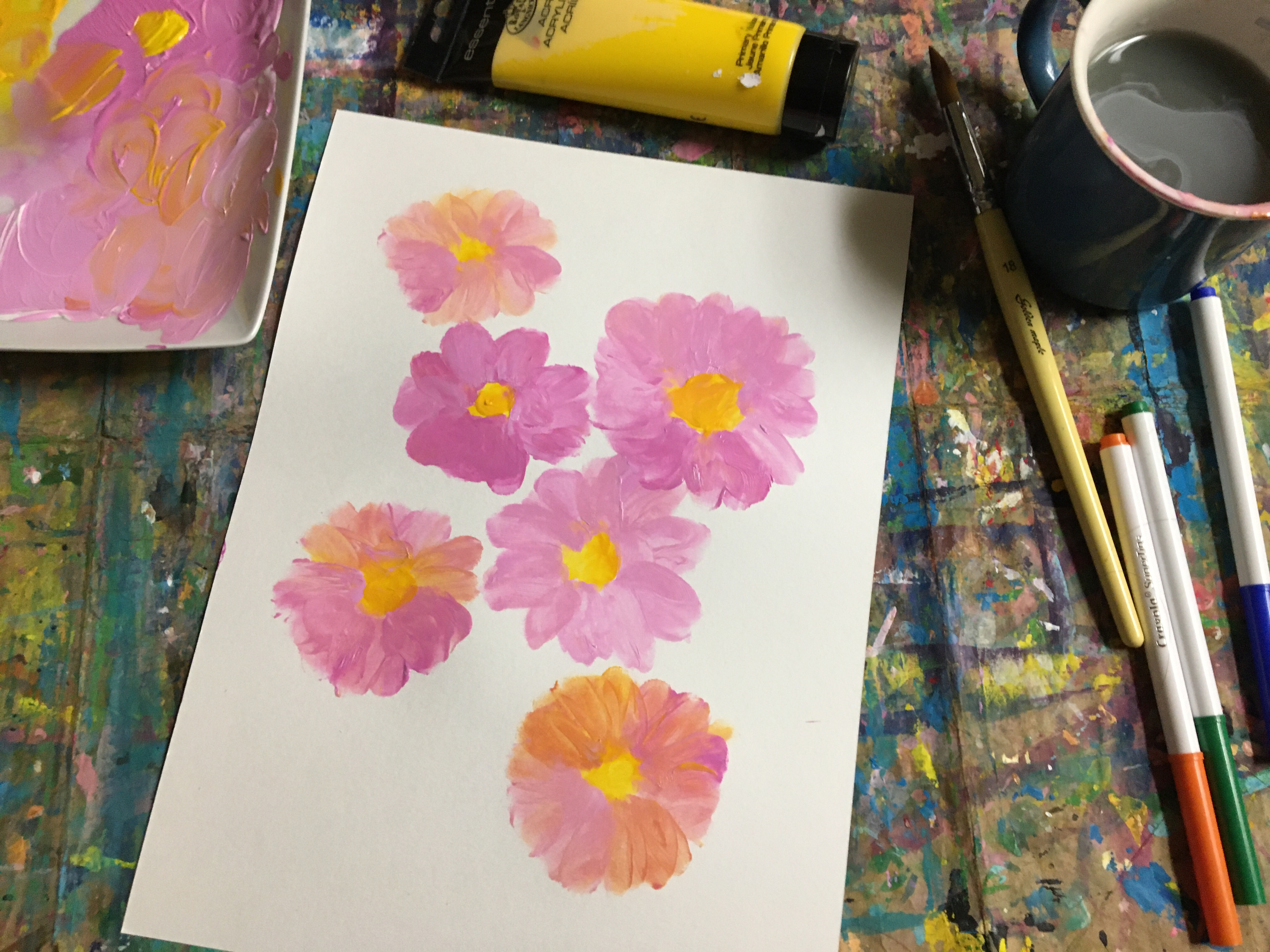 pink flowers using your fingers to blend color and make flowers