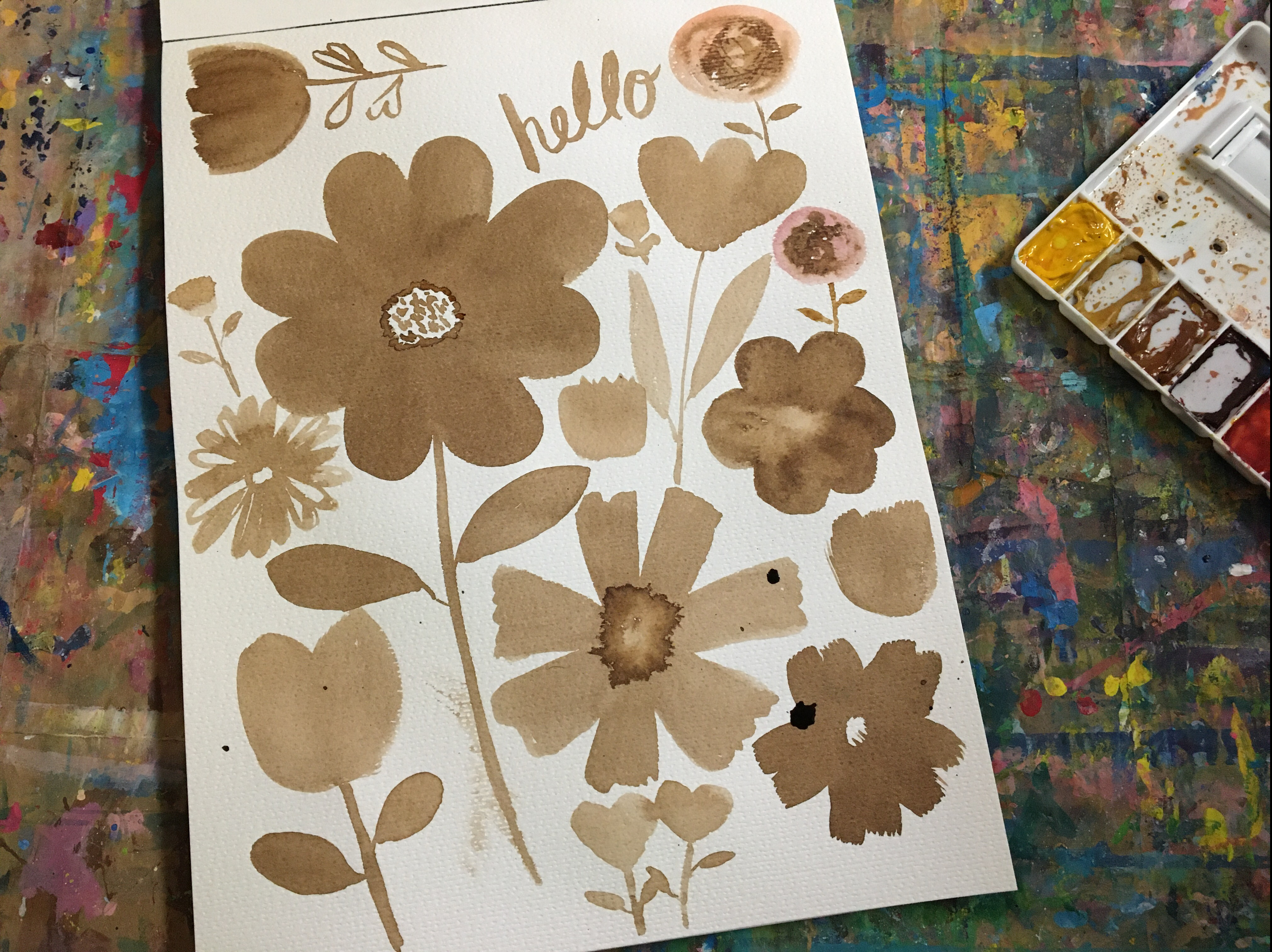 drawing various flowers with walnut ink