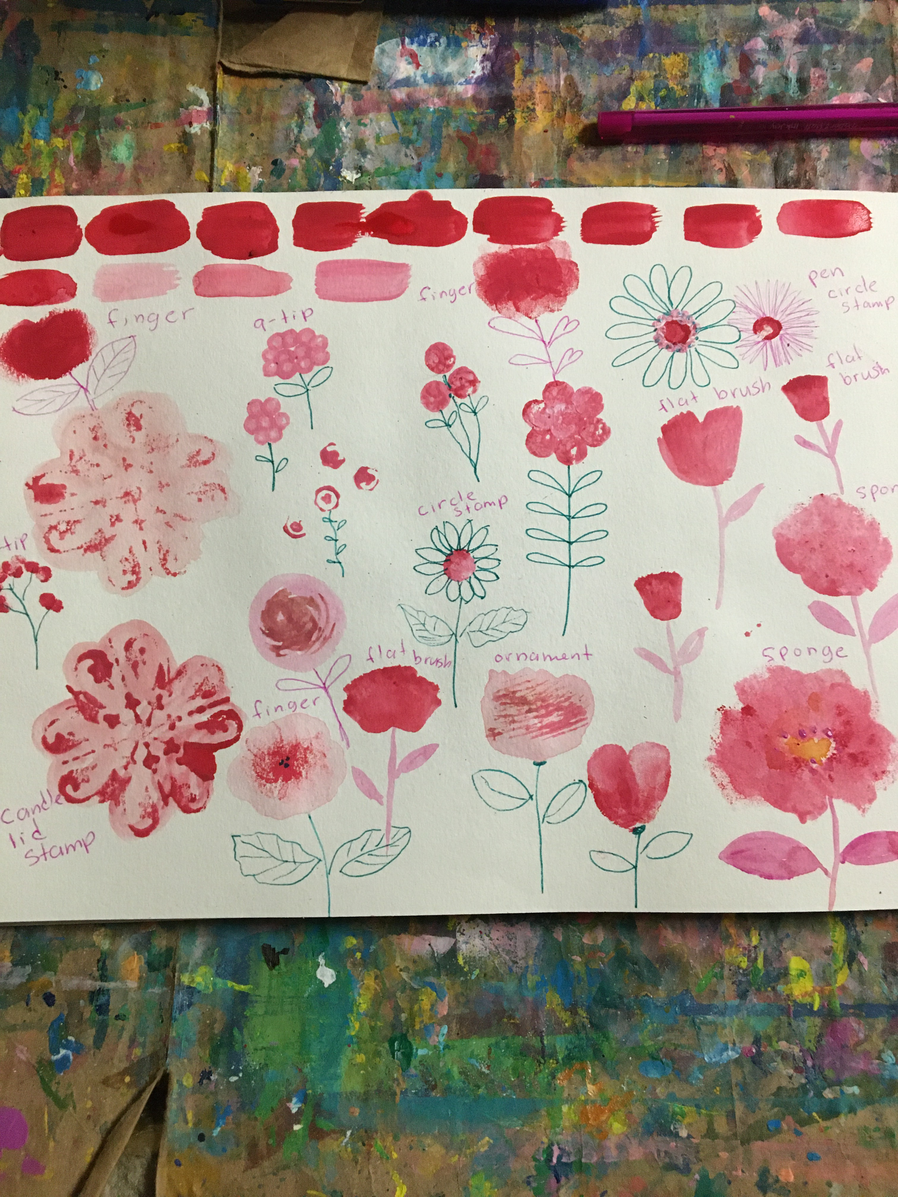 Use red paint to sketch flowers. Stamp with random objects