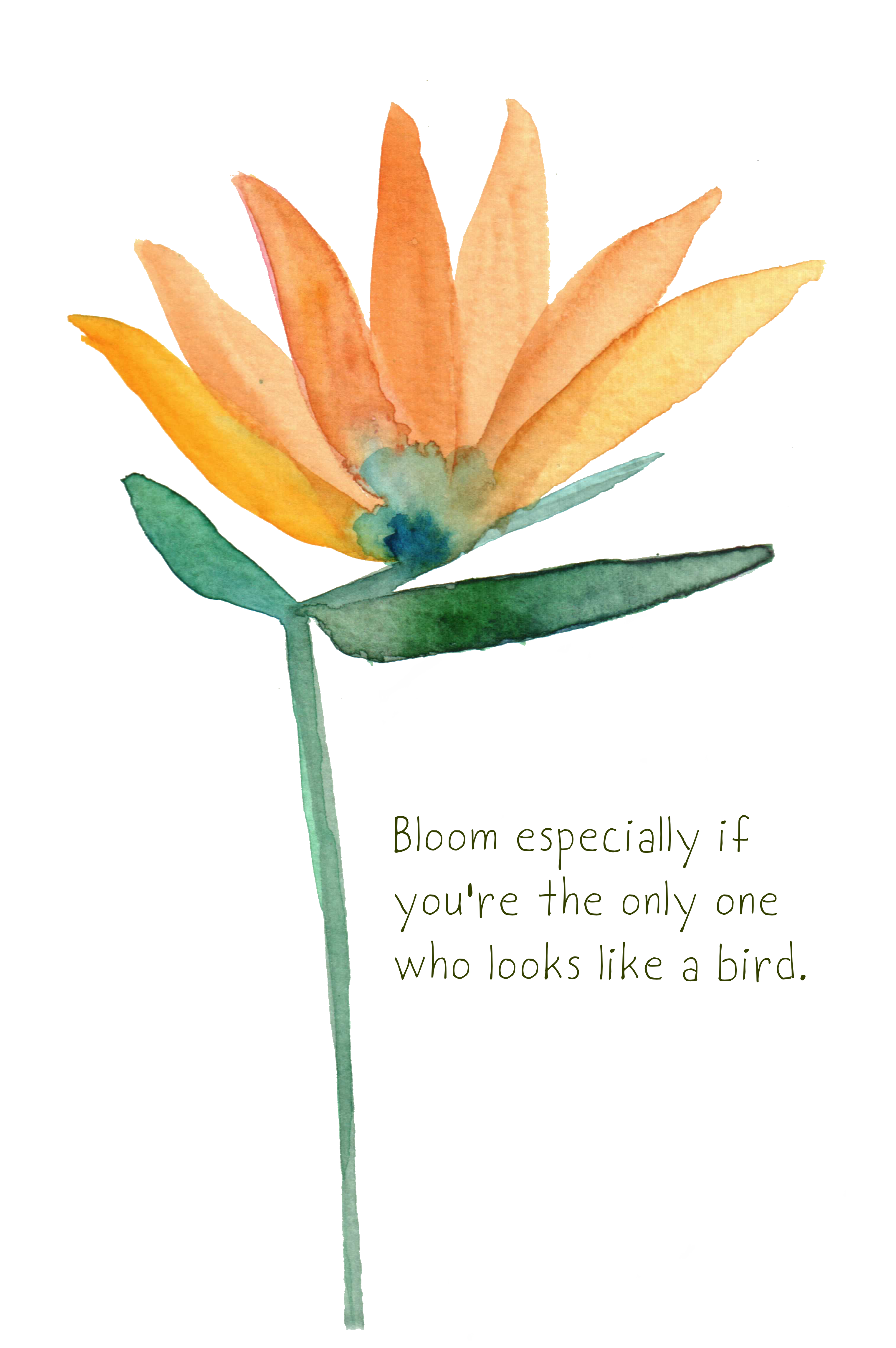a bird of paradise with encouraging words about self love