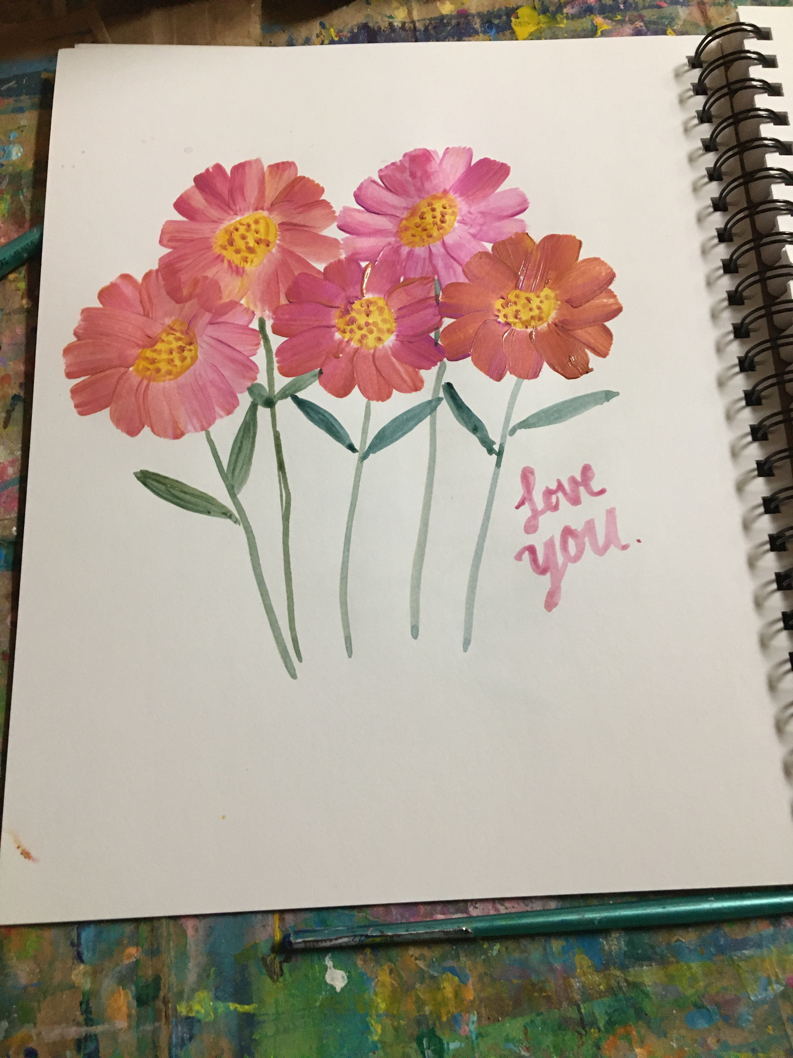 five pink flat brush blooms with love you because you have to love yourself and the universe loves you