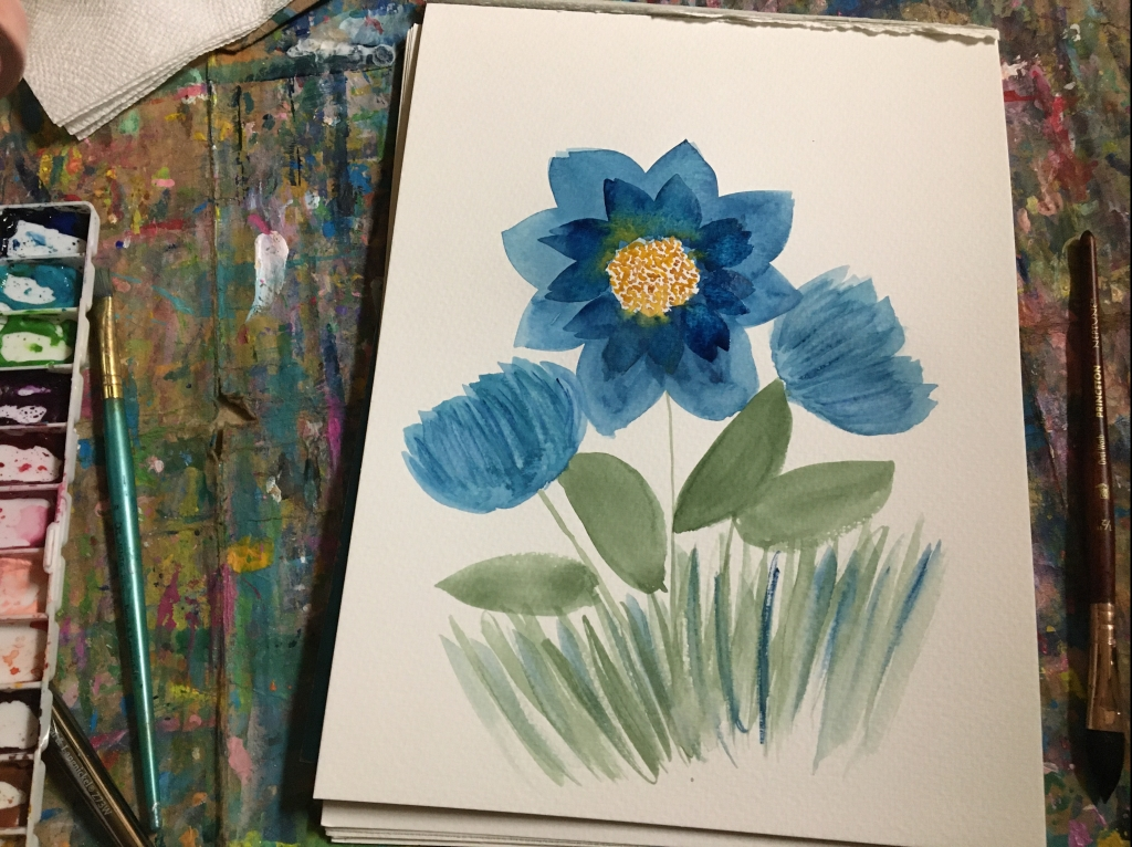 Use new tools like a dagger brush to paint flowers