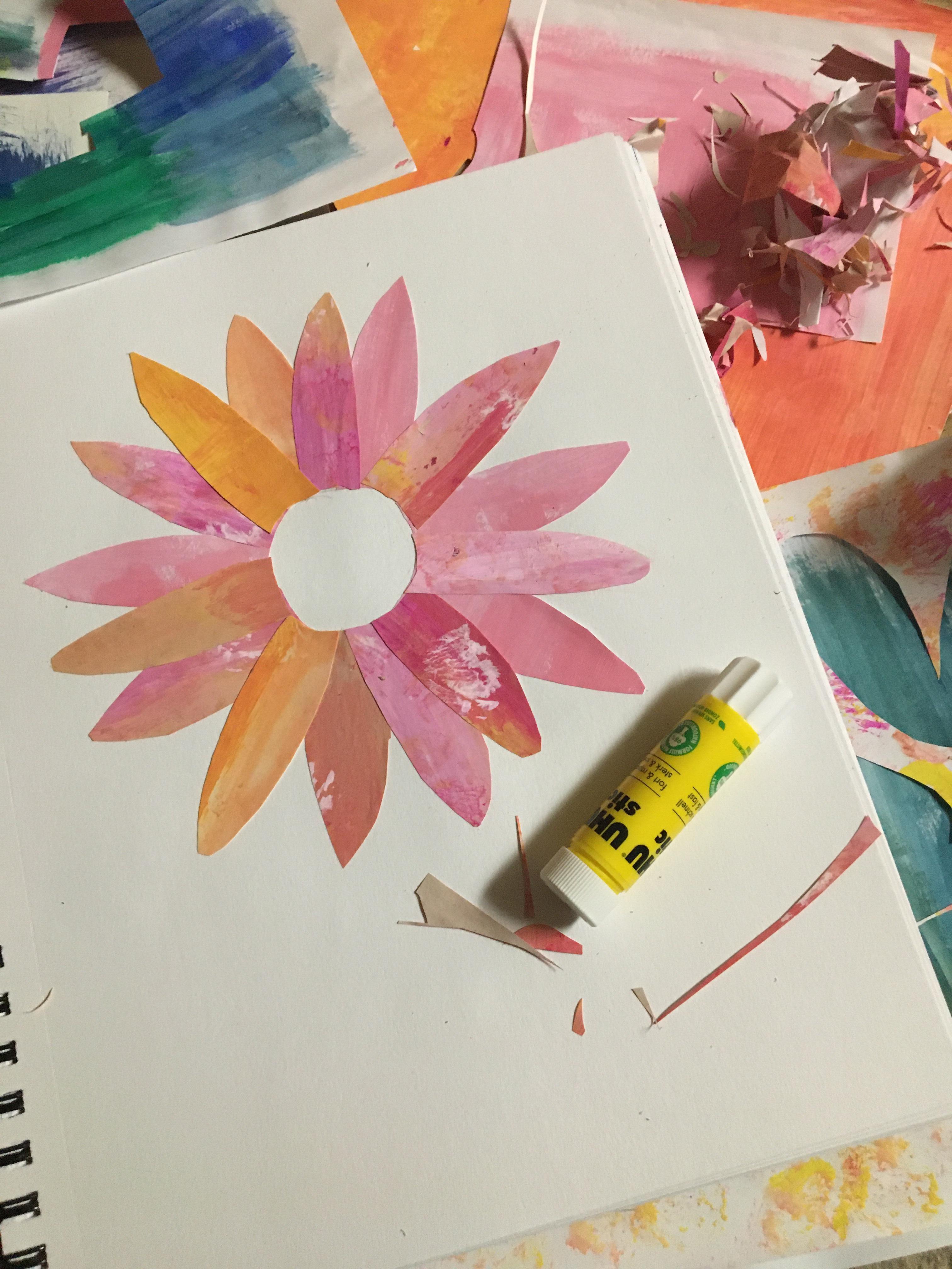 monotone pink and orange collage flower